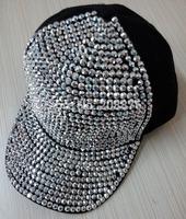 Free shipping black  stone  Caps PUNK Hiphop baseball snapback Rivet Spike studded Dance Cap