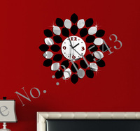 Silver and black flower wall clock modern design luxury mirror wall clock,3d crystal DIY wall watches michael Large clocks JC29