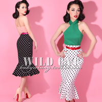 2014 Spring and Summer Pin Up Vintage Classic Black and White Polka Dot High Waist Slim Fish Tail Skirt Free Shipping