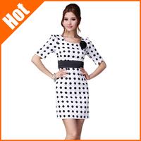 new 2014 summer women ol elegant dot slim casual brief bodycon dress plus size vintage white dress