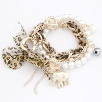 Korean fashion pendant small as a coin pearl double bracelet  fashion bangle bead bracelet