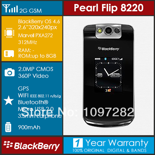 "BlackBerry 8220 Pearl Flip Mobile phone Unlocked Wi-Fi GSM Bluetooth 2.6"" Screen Factory Refurbished(China (Mainland))"