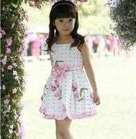 2014 Summer New Arrival Branded Big Flower Pattern Cotton Girl's Dress,Girls Summer Korean dress Clothes Free Shipping