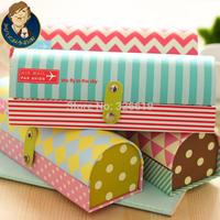 Free shipping pencil case paper Korea stationery semi-cirle 3338 fresh pencil case cute stationery box