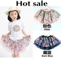 Hot sale New 2015 Summer Fashion Flowers print Lace Girls Tutu Skirt Children Clothing Kids Short Pettiskirt Child Casual 5403