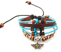 Leather Multi-layer Bracelets Vintage Bohimia Style Butterfly New 2014 Fashion Jewelry Accessories Gifts For Lovers Girls