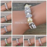 2014 New Brand Pearl Leather Crystal Bracelet  Wrap Wristband Punk Magnetic Buckle women Bracelet Bangle J0055--J0061
