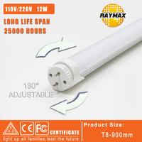New desigh 180 degree rotation 12W led tube 1200LM 110V&220V 900mm T8 tube led light 2835SMD 2years warranty 6pcs/lot