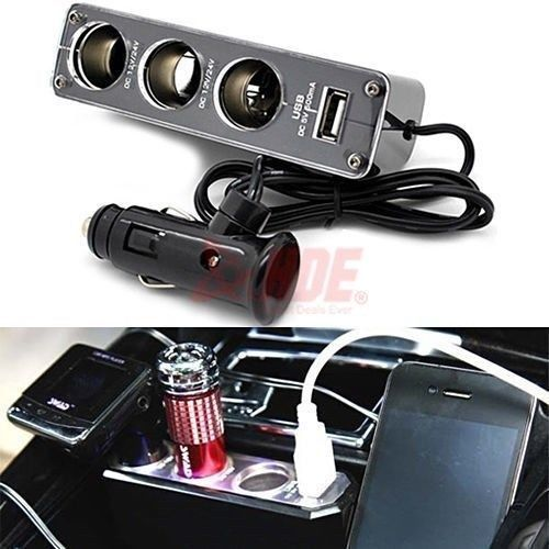 12V 3 Triple Socket 1 USB Car Cigarette Lighter Plug Charger Adapter For Mobile phone mp3 mp4(China (Mainland))
