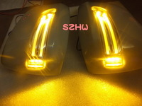 LED rear-view mirror lights with cover, yellow turn signal light+white DRL case for Toyota Land Cruise FJ200 / LC200 Lexus LX570