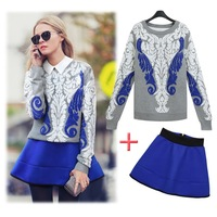 2014 spring  women skirt set skirt suit new design sweater and blue skirt (2pcs/lot) fashion pullover plus size