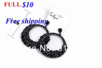 Hot sell Fashion earrings gemstone jewelry wholesale black full metal droplets luxury double circle earrings female