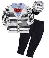 2014 free shipping Retail 1 set 4 pcs suits stripe coat + bow shirt + pants + hats children,boy suit autumn spring outfit