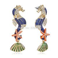 Blue Enamel Gold Colorful Seahorse Stud Earring Fashion Animal Earrings For Women Wholesale