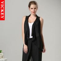 L-5XL Plus Size 2014 New Summer Fashion Sexy Cardigan Chiffon Lace Hollow Out Black Woman Women's Lady's Vest Tank V152