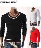 New Brand 2014 Hot Fashion Men's clothing T-Shirt/t shirt men Cotton Casual Slim Sport Korean Long sleeve Drop shipping