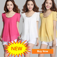 New 2014 hot sale 9 color fashion summer short sleeve chiffon blouse plus size elegant ladies chiffon shirt tops for women 1A134