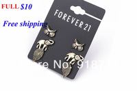Hot sell Fashion jewelry wholesale retro golden jewels owl earrings set mash elephant leaves Value