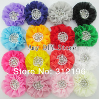 3'' Beaded Chiffon Flower Sew Pearl Rhinestone Chiffon Ruffled Flower For Accessories 300pcs  Flat Back (20 Colors Available)