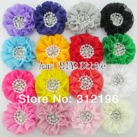 3'' Beaded Chiffon Flower sew Pearl Rhinestone Chiffon Ruffled Flower for accessories 300pcs  Flat Back (21 colors available)