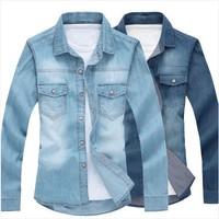 NEW 2014 fashion brand SPRING MEN denim casual slim fit shirt men's long sleeve slim fit jeans shirts cowboy men's clothing