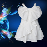 2014 new fashion big bow 100 cotton Romantic solid girl party dress 3~9age shij197 kid dresses
