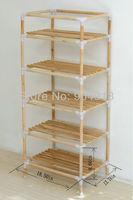 quality goods,YJJ-5 The original wood multifunctional shelf, shoe rack, flower shelf, Six tiers of storage