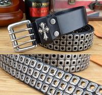 100% Genuine Leather New 2014 Men Punk Belt Fashion Metal Rivet Hip Hop Personality Brand Belts Man Strap Cint Ceinture MBT0162