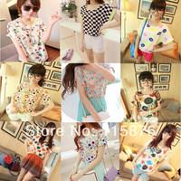 New 2014 Fashion Women Blouse Women's Flower Printed Batwing Sleeve Chiffon Loose T-Shirt Dot/Heart T Shirt Free Shipping