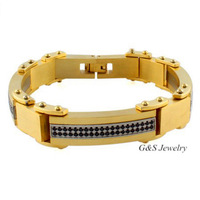 Hot-selling Fashion Jewelry 18K Gold Plated Men Bracelet With Cubic Zircon Stone, Flod Over Clasps, Free Shipping G&S007SB