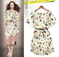 2014 New Europe Bird Printing women girls Elegant Classical Fashion clothing short sleeve Casual summer spring Mini women dress