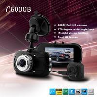 Original C6000B H.264 Dual Lens Car Black Box DVR G-Sensor FHD 1080P w/2.7' LCD/Rear Camera/170 Degrees Wide Lens/Allwinner CPU