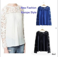 New Arrival 2014 Spring New Europe and Russia Fashion Long-sleeved Chiffon Shirt  Lace Crochet for Women's Blouse Top