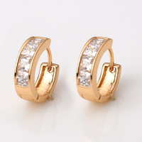 2014 Brand Round Clear Crystal Hoop Earrings Women Nickel Free 18K Gold Plated Copper Alloy XE008 Drop Shipping Magi Jewelry