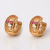 2014 Fashion Round Hoop Earrings Women Purple Crystal  Zircon Gold Tone Nickel Free Copper XE011 Drop Shipping Magi Jewelry