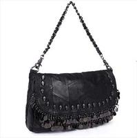 2014 skull rivet bag fashion Sheepskin handbag genuine leather women's one shoulder cross-body handbag patchwork female bags