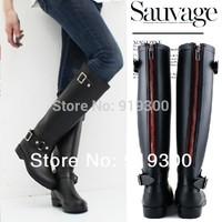 2015 New Women Fashion Waterproof Motorcycle Rain Boots Knee High Back Zip Water Shoes Rainboots Wellies  #TS30