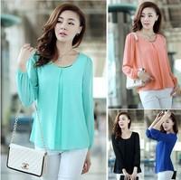 Hot Sale 2014 Fashion Chiffon Shirt Women's blouse/Elegant Long Sleeve Candy Color Sunscreen OL tops/Plus Size S-XXXL 4XL/WOQ