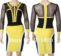 2014 new arrival Mesh long sleeve tribal bodycon bandage dress evening dresses Yellow and black