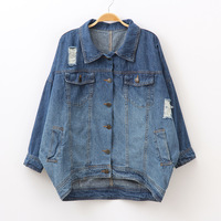 2014 spring women's fashion vintage turn-down collar long-sleeve loose plus size short design denim outerwear