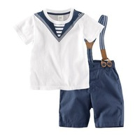 One Piece Retail brand new boys summer clothes suits kids fashion 2pcs outfits boys t shirts+suspender pant sets for 2-6 years