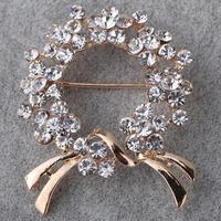 Fashion Jewelry 9k Yellow Gold Filled Full Crystal Inlay Geometric Shape Brooch