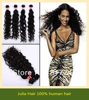 Free shipping Deep Wave 5A Unprocessed Julia queen hair 3pcs Lot Brazilian Virgin Hair Extensions Natural Color