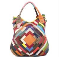2014 Women's Genuine Leather Sheepskin Patchwork Color Block One Shoulder Fashion Handbag