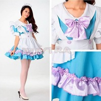 Cosplay Japanese Women Girl Evening Maid Baby Blue Big Purple Bow lolita Costume Party Dress Princess/Lovely Cosplay Custume
