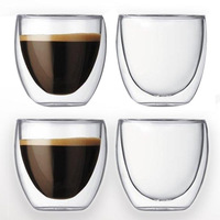 Set of 4 double Wall Pavina glass Espresso Shot Glass Cup 250ml free shipping