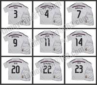 Free shipping 2014-15 La Liga Real Madrid Home kids soccer jerseys  Embroidery children's jerseys BALE #11 RONALDO #7 PEPE #3