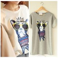 Hot!New 2014 Summer Fashion Good Quality Cotton O-neck short-sleeve T Shirt Women Printed dog Tops Round T-shirts tee shirts