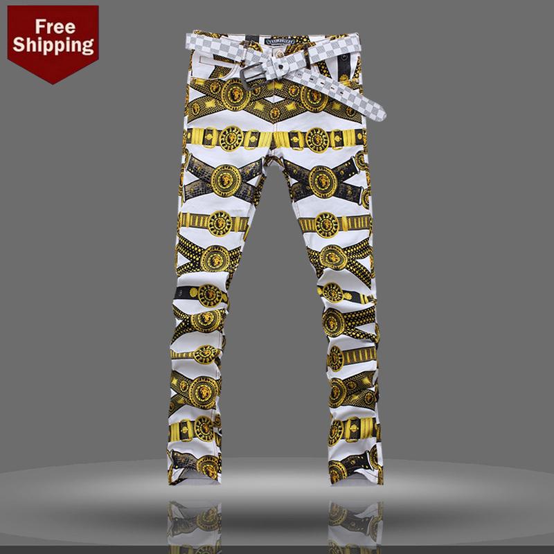 caldo 2014 nuovo jeans slim pantaloni da uomo di moda pantaloni jeans slim stampa pittura spedizione gratuita