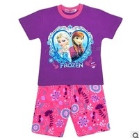 Retail 2014 Frozen Anna and Elsa 2 colors Pajama Robe Set 2-10 Age Kids Clothing Children Nightie Pyjamas Clothing Sets DA105